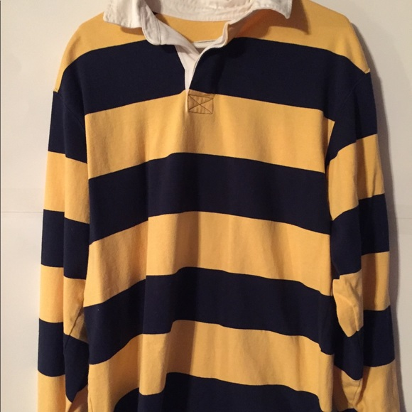 d7a7ade7 L.L. Bean Shirts | Ll Bean Mens Rugby Polo Shirt Medium Yellow Blue ...